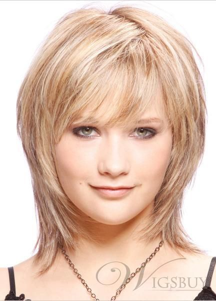 New Fashion Glamour Medium Layered Straight Affordable Wig 100% Real Human Hair about 12 Inches: wigsbuy.com