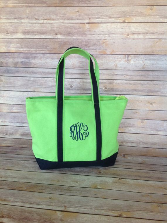 Cute Bridesmaid Gift Idea Monogram Lime Green and Navy Boat Bag Tote by HeatherStrickland