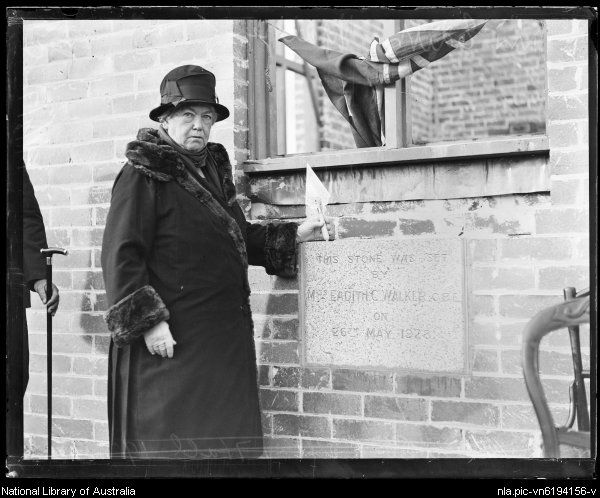 Miss Eadith Walker laying memorial foundation stone at Concord, New South Wales, 1928