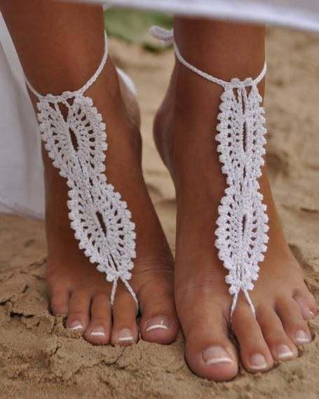 Crochet Bridal Barefoot Sandal Feet Jewelry.Great for beach wedding summer slave sandals foot jewelry resort wear, nude shoes, Foot jewelry, Bridal, Lace, Sexy, Yoga, Anklet