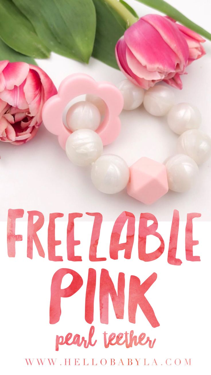 This teether is made with silicone pearls that are freezable! Perfect to soothe baby's gums! Shop now ❤️