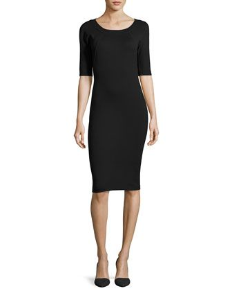 Milano-Jersey+Elbow-Sleeve+Dress,+Black+by+Armani+Collezioni+at+Neiman+Marcus.