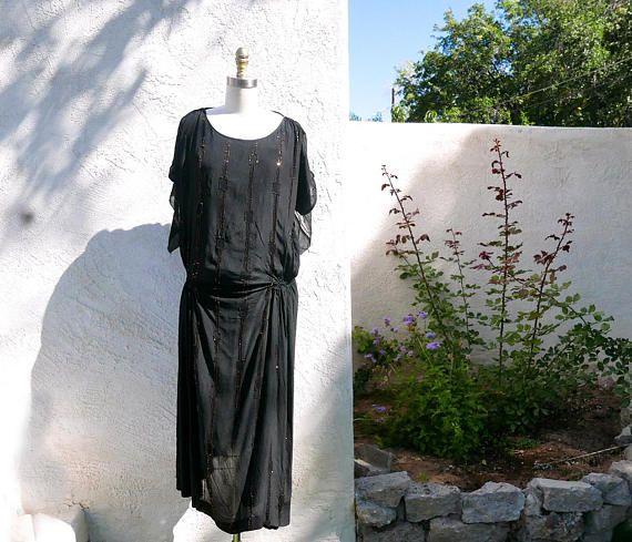 Vintage Flapper Black Silk Roaring 20s Dress 1920 Beaded