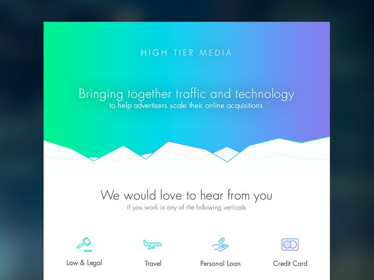 High Tier Media Landing page by Helder Leal for Pixelmatters