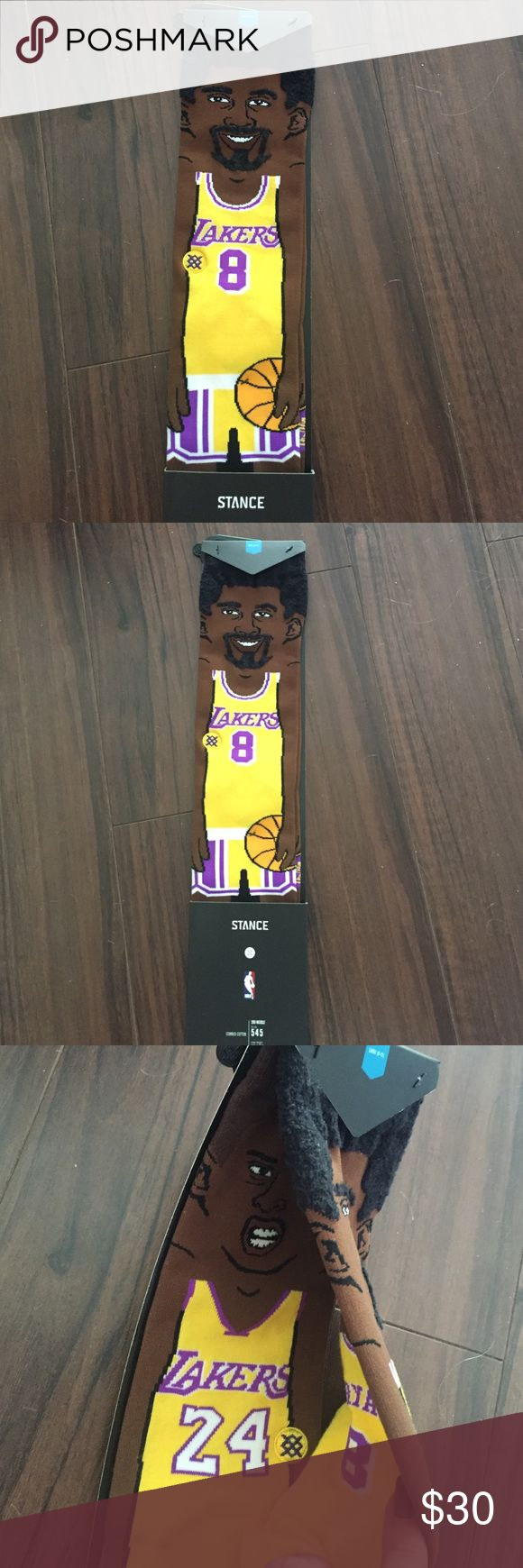 Rare Stance Kobe Socks Limited and sold out Stance cartoon Kobe ankle high socks. One sock is retro Kobe with a number 8 jersey and afro/goti. Other sock is new Kobe with a 24 jersey and shaved head. These are unisex socks and come in size Large (men's 9-12) but fit women no problem. I have a pair in and I wear size 8 and they are one of the comfiest socks I own. These were sold out immediately after Kobe's last game and retirement. It's a commemorative item to thank Kobe for all he did for…