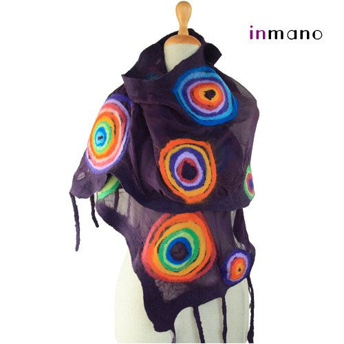 nuno felted scarf violet and multicolour circles rainbow by inmano
