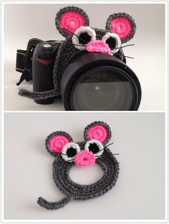 Rat / Mouse Crochet Camera Lens Buddy -FREE SHIPPING on Etsy, $15.00