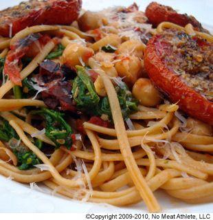 ... Roasted Tomato Pasta With Chickpeas and Arugula. Gf pasta, no parm