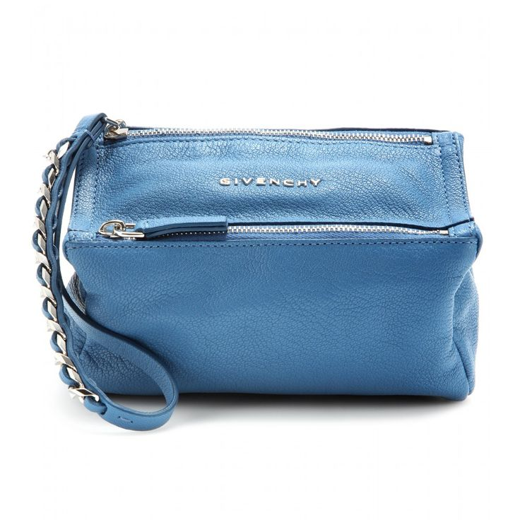 Givenchy - Pandora leather pouch - Givenchy are our first choice when it comes to must-have accessories. Crafted from grainy blue leather, two zippers and a chain-trimmed wristlet add an edgy twist. Take this bold style to your next event, pairing with distressed jeans and tall pumps. seen @ www.mytheresa.com
