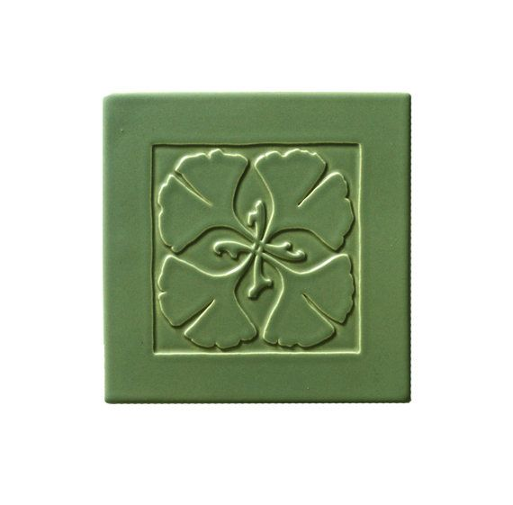 Gingko Art Tile Matte Sage Green by CarreauxDuNord on Etsy