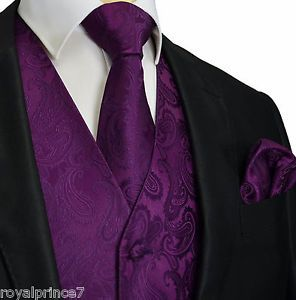 Deep Dark Purple Paisley Tuxedo Suit Dress Vest Waistcoat & Neck tie Hanky 20-FF