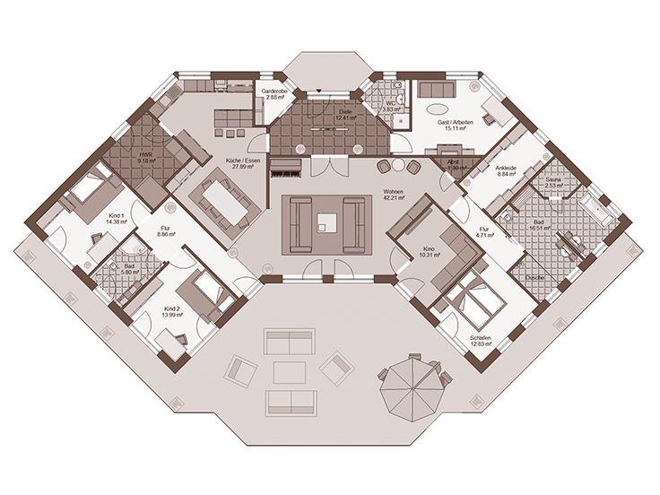 Grundriss bungalow u-form  Die 25+ besten Grundriss bungalow Ideen auf Pinterest | Haus ...