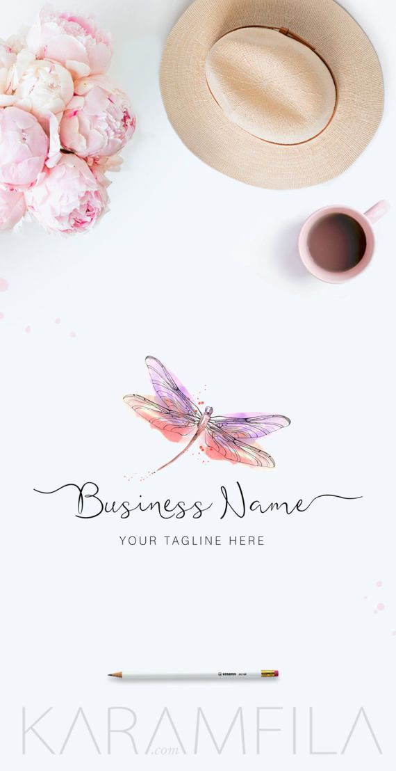 Watercolor Dragonfly Logo Handpainted Premade Logo by KaramfilaS