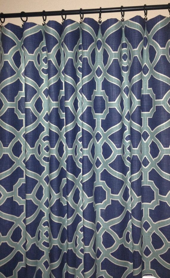 geometric curtains trellis curtains fret curtains blue curtains aqua curtains indigo curtains p kaufmann pavilion one pair
