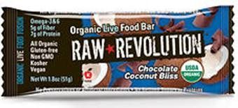A bulk box of 12 bars of Raw Revolution Chocolate Coconut Bliss.