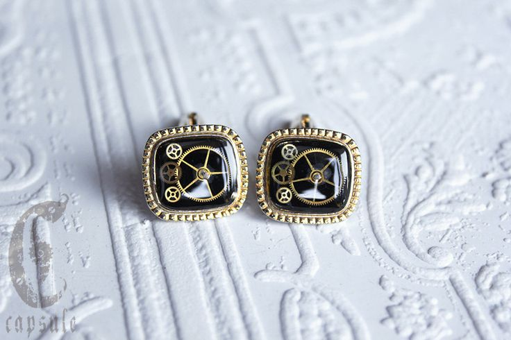 Steampunk Vintage Golden 1960s or 1970s Goldtone Square Shaped Cufflinks with Black Enamel and Antique Brass Watch Cogs by CapsuleCreations on Etsy