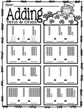 adding tens and ones place value addition st patrick 39 s day math tens ones math. Black Bedroom Furniture Sets. Home Design Ideas