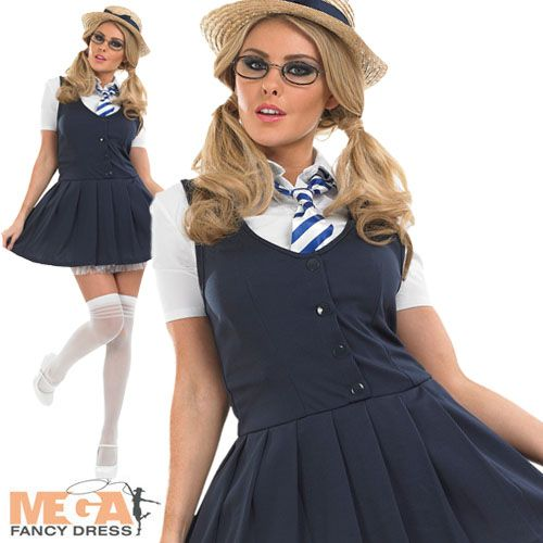 Sexy School Girl Fancy Dress Uniform Ladies Costume Adult Outfit + Hat UK 8-30 | eBay