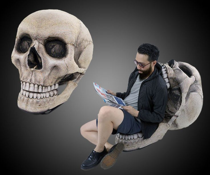 This isn't the first time we've seen a sweet skull chair (nor the first time we've seen a sweet seat from Chic Sin Design). But this sweet Skull Chair is unique both in its operation and construction.  As indicated in the photo, the skull's giant mandi