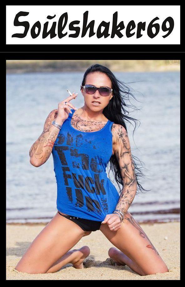 Shut the fuck up women tank top with Tattoo Model Sharon