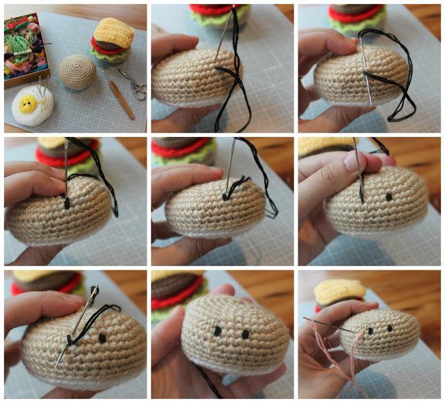 Tutorial Ojos Amigurumi : Amigurumi Food: How to embroider eyes on amigurumis / Como ...