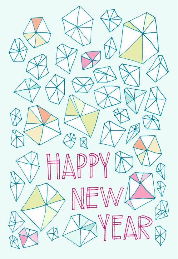 New Year Gems card (bright, crystals)