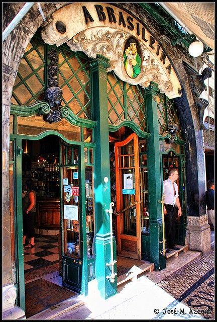 A Brasileira, a famous cafe-bar in Lisbon's Chiado neighborhood , Portugal