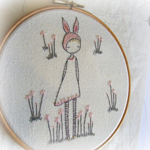 spring bunny girl hand embroidery pattern pdf by LiliPopo on Etsy, £2.50
