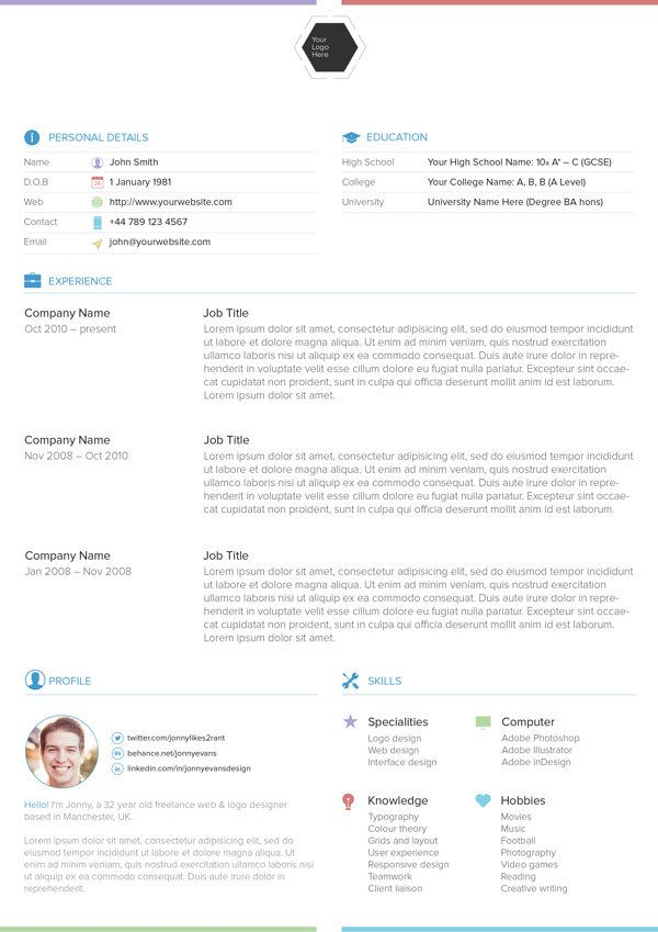 150 best CV design images on Pinterest Resume templates, Resume - one page resume template word