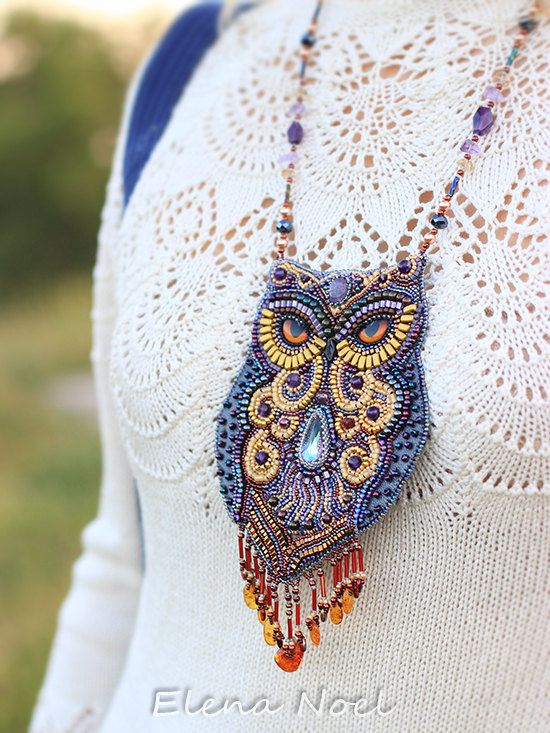 Fabulous amethyst owl. Beaded necklace with owl. by ElenNoel