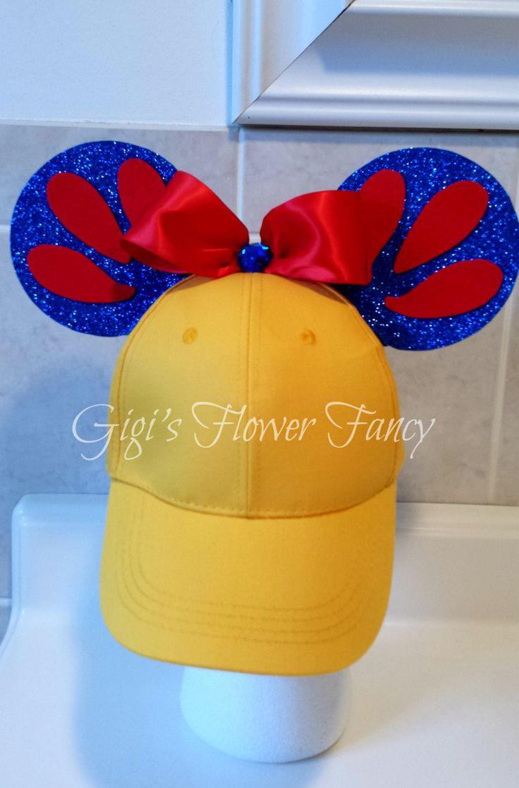 White baseball caps for crafts - Snow White Mickey Ears Hat Snow White Yellow Baseball Cap Red Bow Blue Sparkly