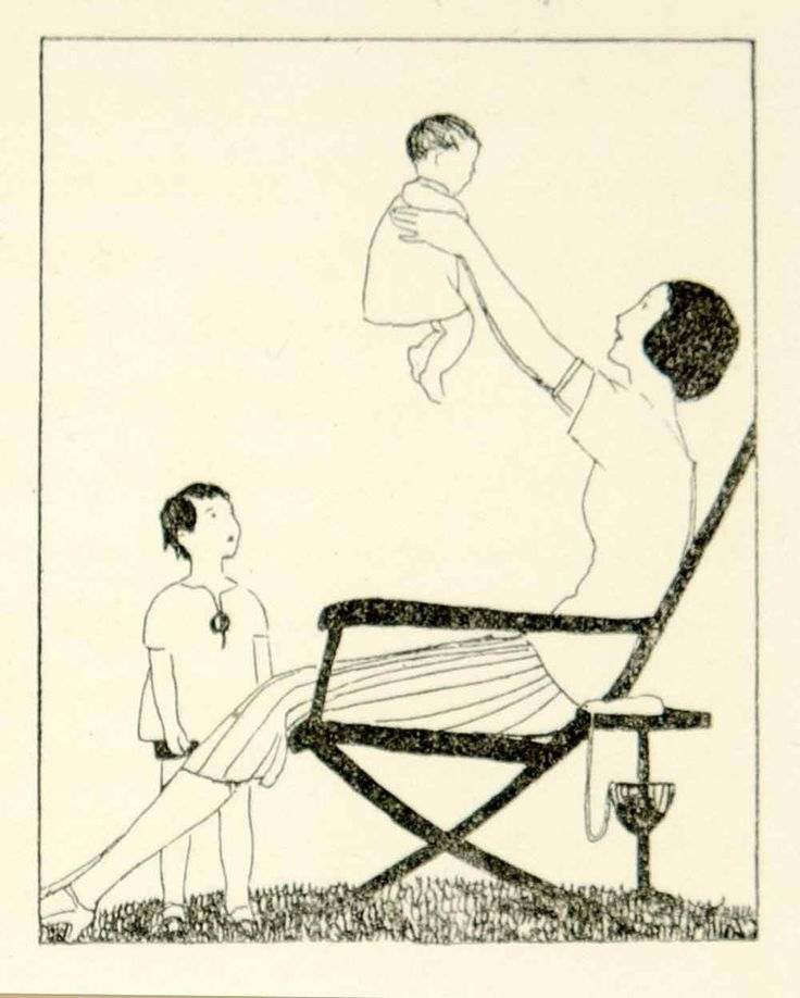 1930 Lithograph A E Marty Art Deco Illustration Mother Child Baby Infant Family