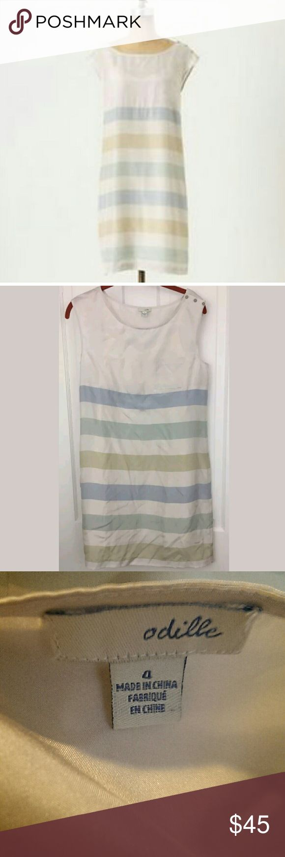 Anthropologie Odille Shore House Shift Dress Odille Shore House Dress Size 4 100% Silk Pastel Stripes Excellent Condition Anthropologie Dresses Midi