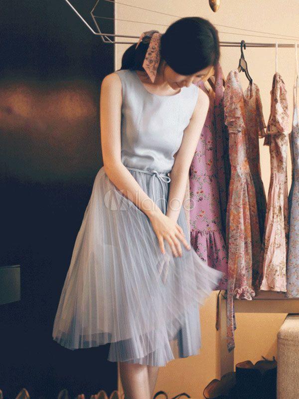 [18,49€] Mousseline de soie sans manches gris plissé robe patineuse de Crewneck femme