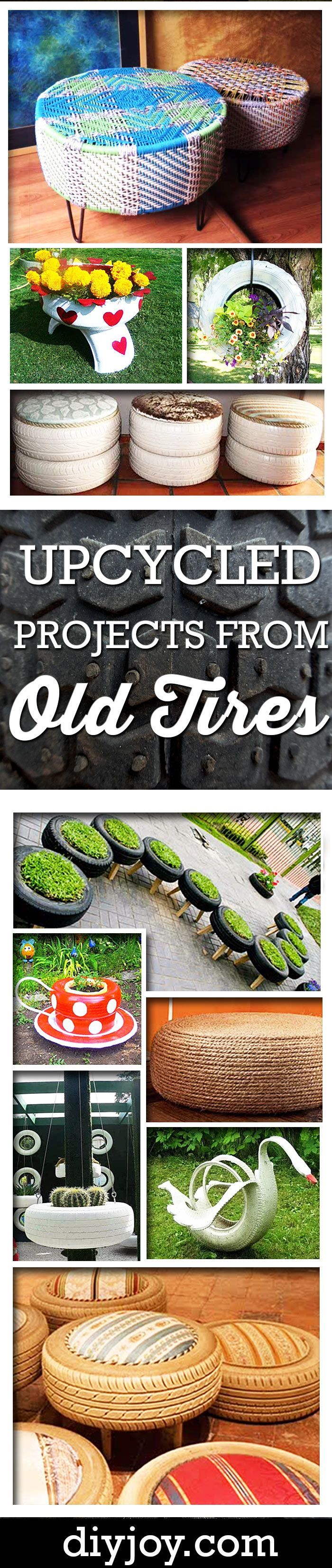 DIY Ideas - upcycling projects made from old tires.  Fun crafts ideas and tutorials for indoor and outdoor garden decor by diy joy
