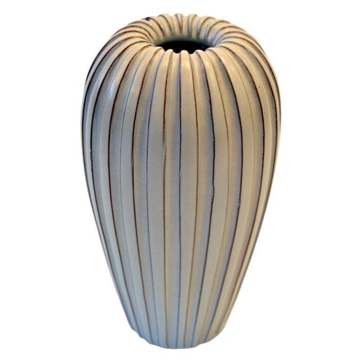 Stylistic Swedish Pottery Vase by Vicke Lindstrand Sweden 1950's A stoneware vase signed V.L., Vicke Lindstrand.