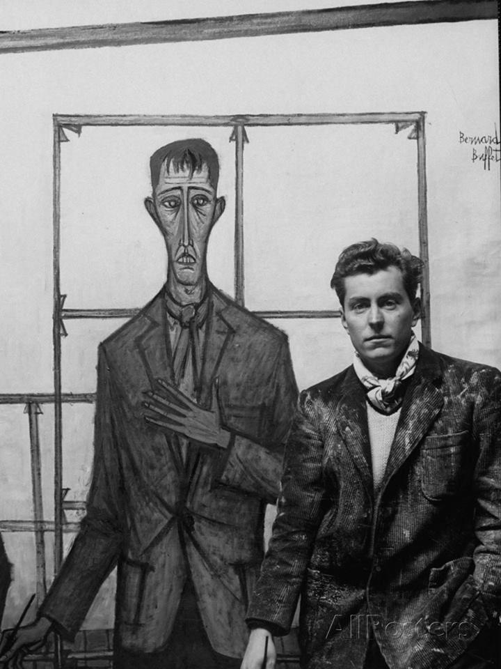 Artist Bernard Buffet and his self portrait