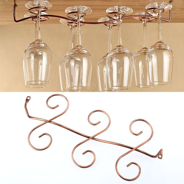 6 Wine Glass Rack Stemware Hanging Under Cabinet Holder Shelf Bar Display