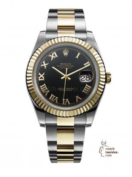 Rolex Datejust Black Roman Dial YG Fluted Bezel 2-Tone Oyster Bracelet