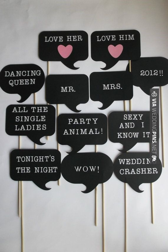 Photo Booth Props for Weddings – you can probably DYI and also make even more funnier thoughts/sayings
