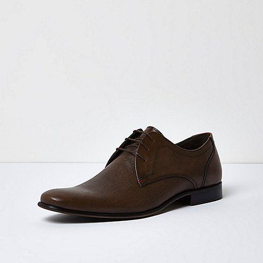 Dark brown embossed leather formal shoes - seasonal offers - sale - men