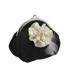 803Frame clutch bag, purse in Glamour, Formal or Bohemian style, evening clutch, clutch small bag, party clutch, women clutch pursehandbag, clutch bag, evening bag & chain of organza has flower for women, ivory & black 0890