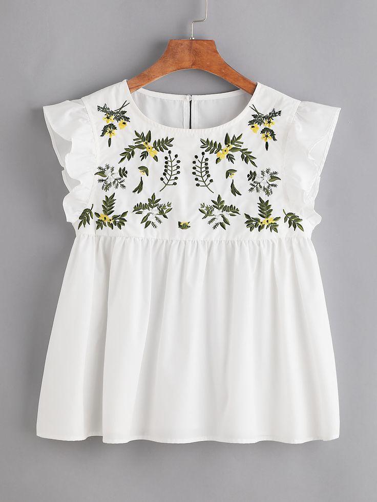 Белый модный топ с цветочной вышивкой