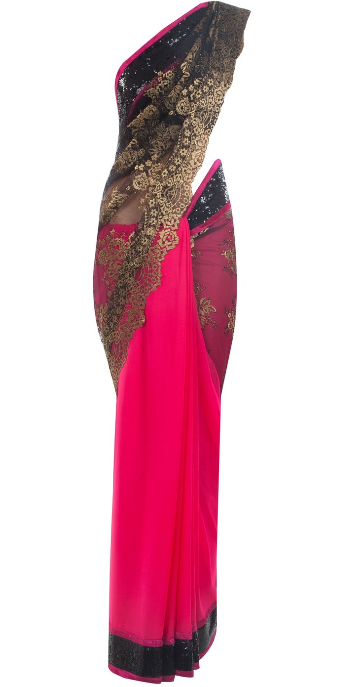 Fuschia and two toned black chantilly lace sari by VARUN BAHL.