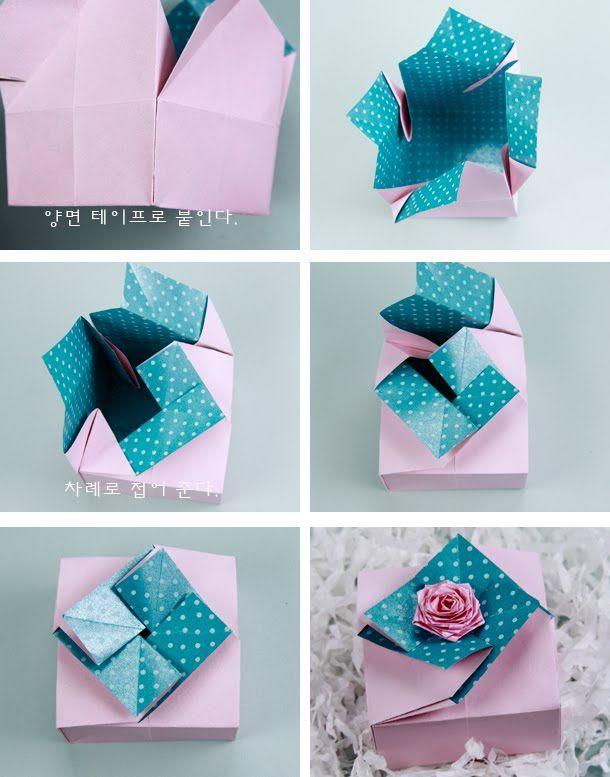 종이 한장으로 상자 만드는 방법을 소개하겠습니다~  목걸이나 귀걸이 또는 쵸콜렛이나 캔디를 담아 선물할 때 요긴하게 사용하실 수 있어요.  저는 앞 뒤 색상이 있는 포장지를 잘라 만들었어요. 포인트로 장미를 접어 붙였구요.  특별히 포장을 하지 않아도...