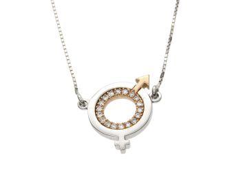 Κολιέ σε λευκό και ροζ χρυσό 18Κ με διαμάντια Αρσενικό/Θηλυκό με αλυσίδα #Necklace #white_gold #pink_gold #diamond #Male Female #handmade #craftsmanship #goldsmith #Thessaloniki #Greece