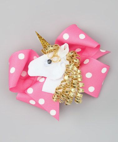 Take a look at this Pink Polka Dot Bow & Gold Unicorn Clip Set by Picture Perfect Hair Bows on #zulily today!