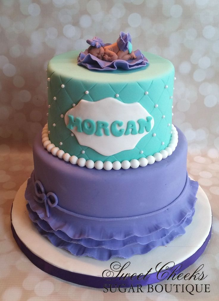 A Precious Purple And Teal Baby Shower Cake For Baby Morgan
