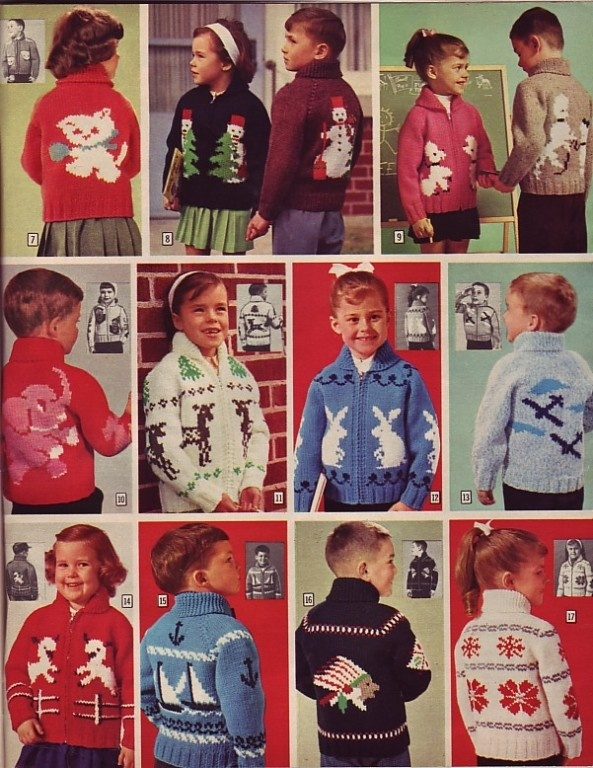 Vintage 1950's Mary Maxim sweaters. My little brother had #14 in dark blue and I had #16 in black, knit by one of my relatives and worn in our 1966 Santa photo.  Ok, I still have #16...
