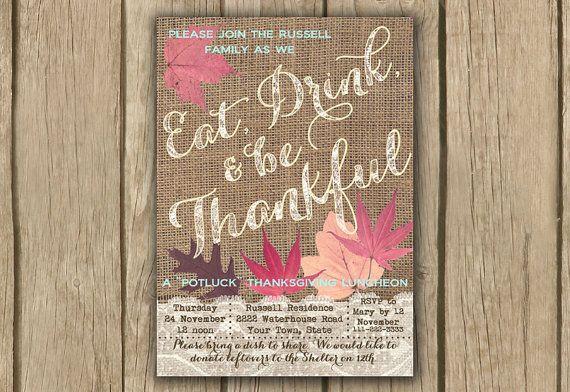 thanksgiving invitation; burlap thanksgiving invite; printable thanksgiving invite by DulceGracePrintables